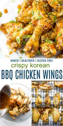 pinterest image for crispy baked korean bbq chicken wings