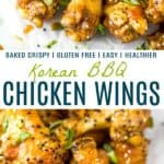 pinterest image for crispy baked korean bbq chicken wings