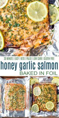 pinterest image for Baked Honey Garlic Salmon in Foil