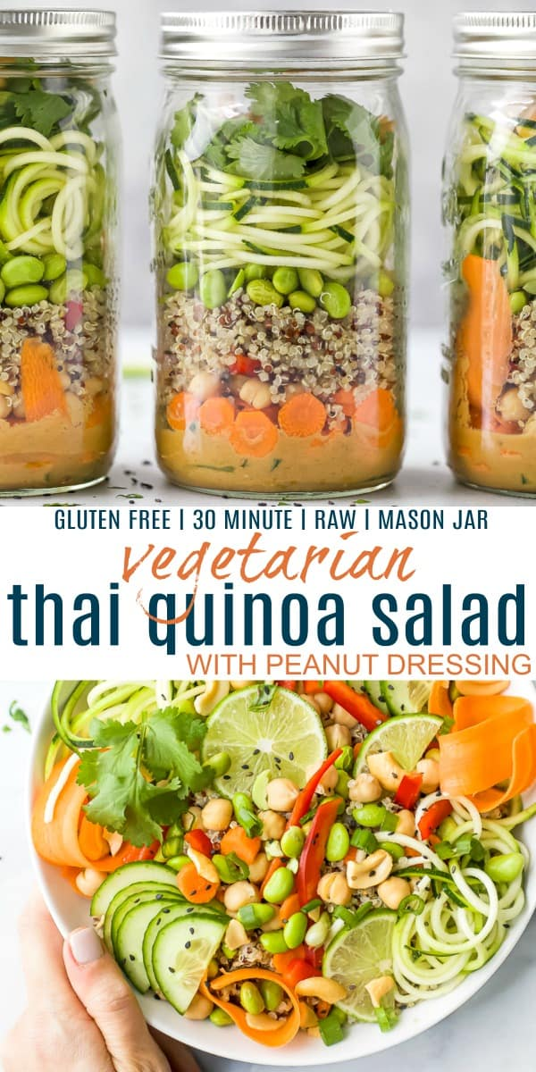 pinterest image for vegetarian thai quinoa salad with peanut dressing