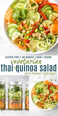 pinterest image for vegetarian thai quinoa salad with peanut dressing