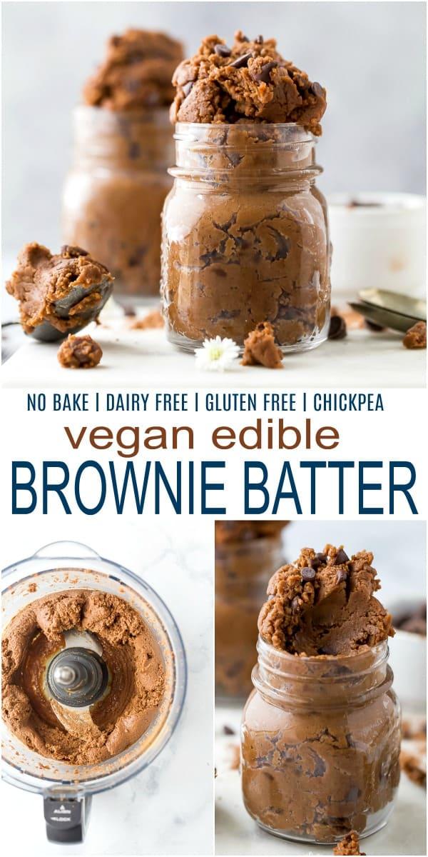 pinterest image for easy vegan edible brownie batter recipe