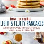pinterest image for fluffy pancake recipe with strawberry compote and vanilla mascarpone