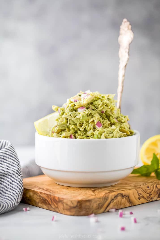 the ultimate paleo avocado chicken salad recipe in a bowl