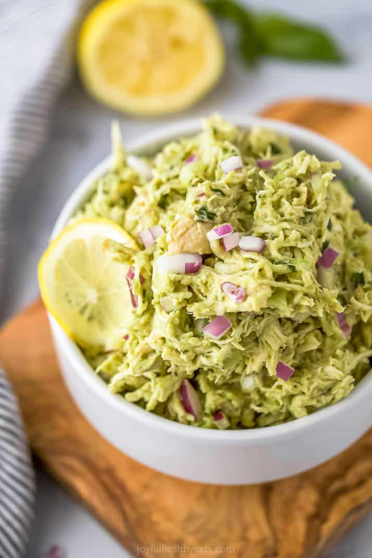 paleo avocado chicken salad recipe in a bowl