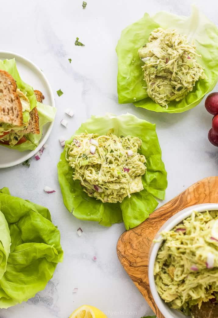 the ultimate paleo avocado chicken salad recipe in lettuce cups