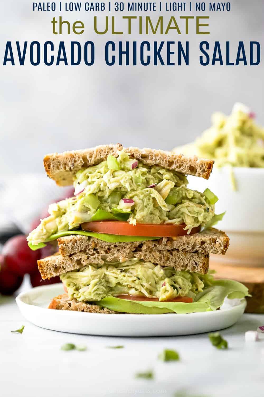 pinterest image for the ultimate paleo avocado chicken salad recipe