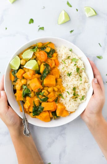 vegan sweet potato chickpea curry with rice in a bowl