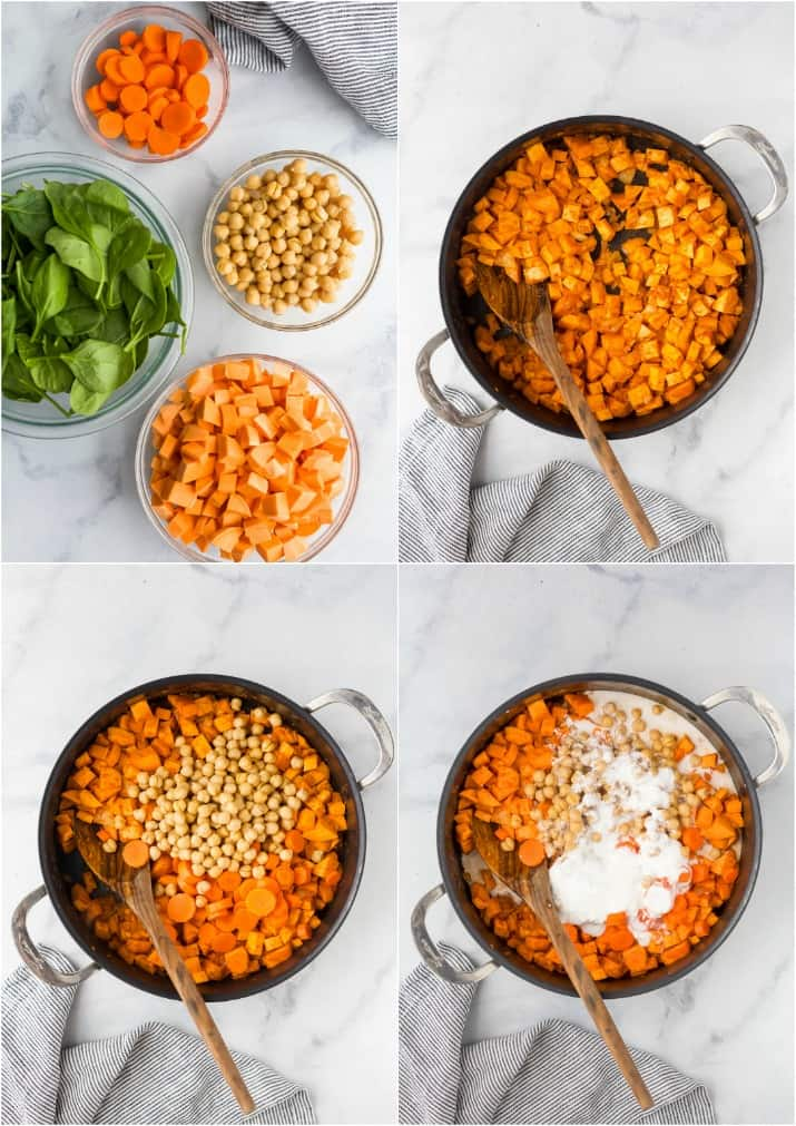 process photos of how to make vegan sweet potato chickpea curry