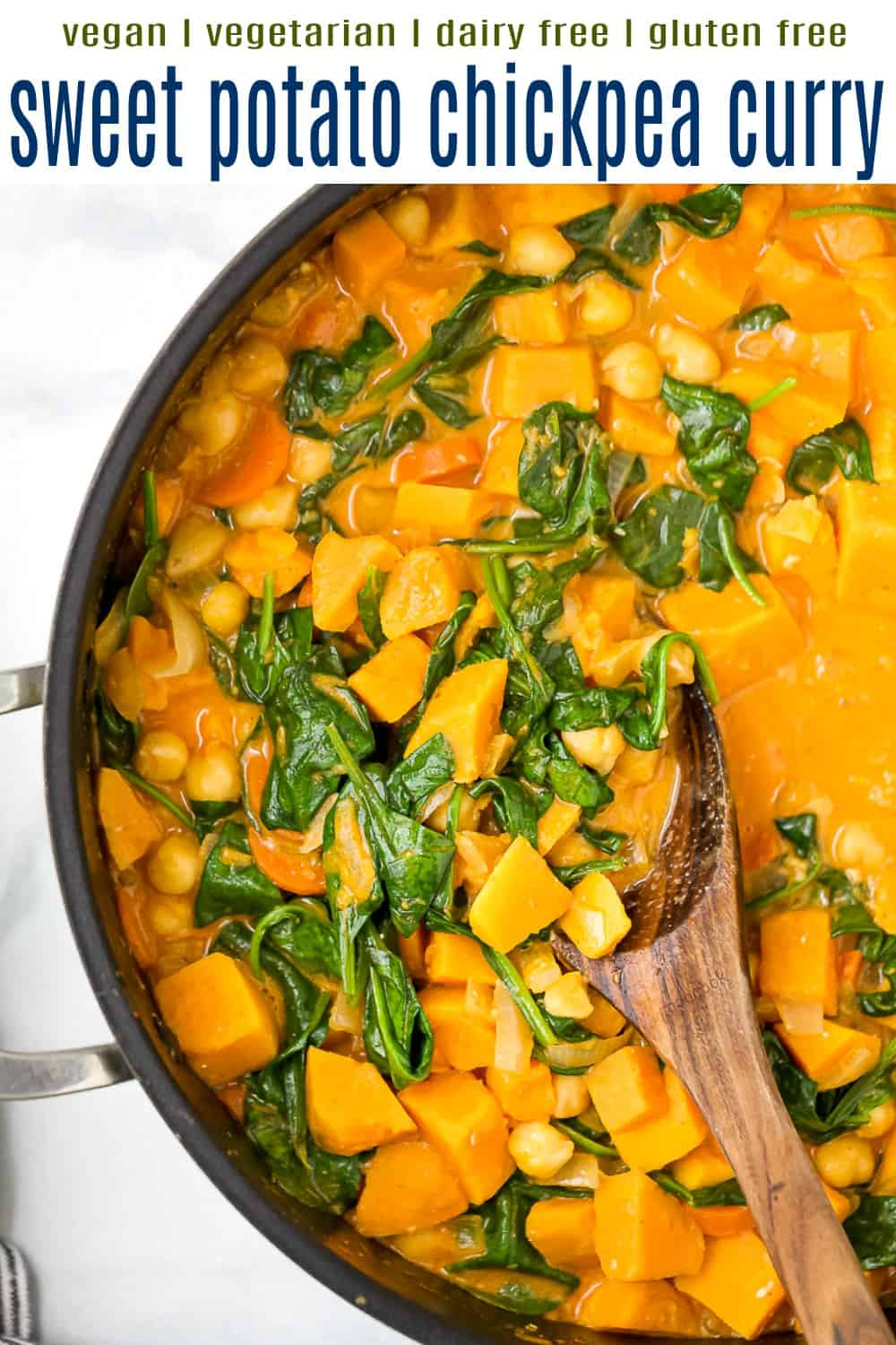 pinterest image for vegan sweet potato chickpea curry recipe