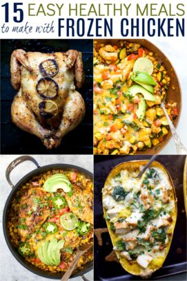 pinterest image for 15 easy healthy meals with frozen chicken