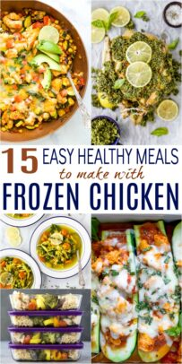 pinterest pin for 15 easy healthy meals to make with frozen chicken