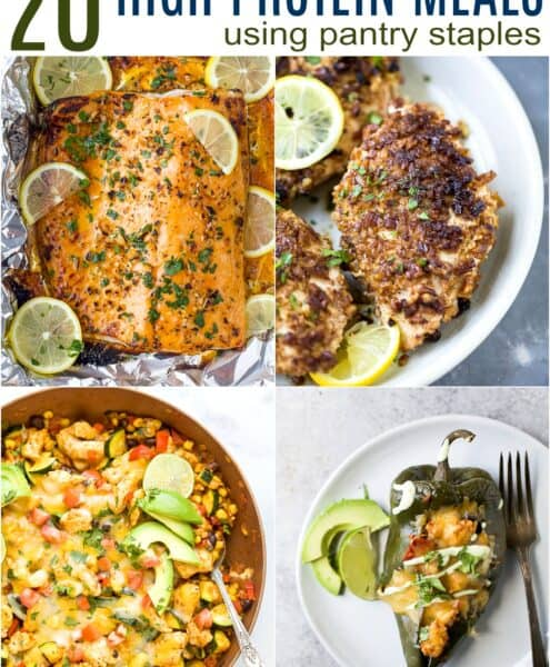 pinterest pin for 20 light and easy high protein meal ideas using pantry staples