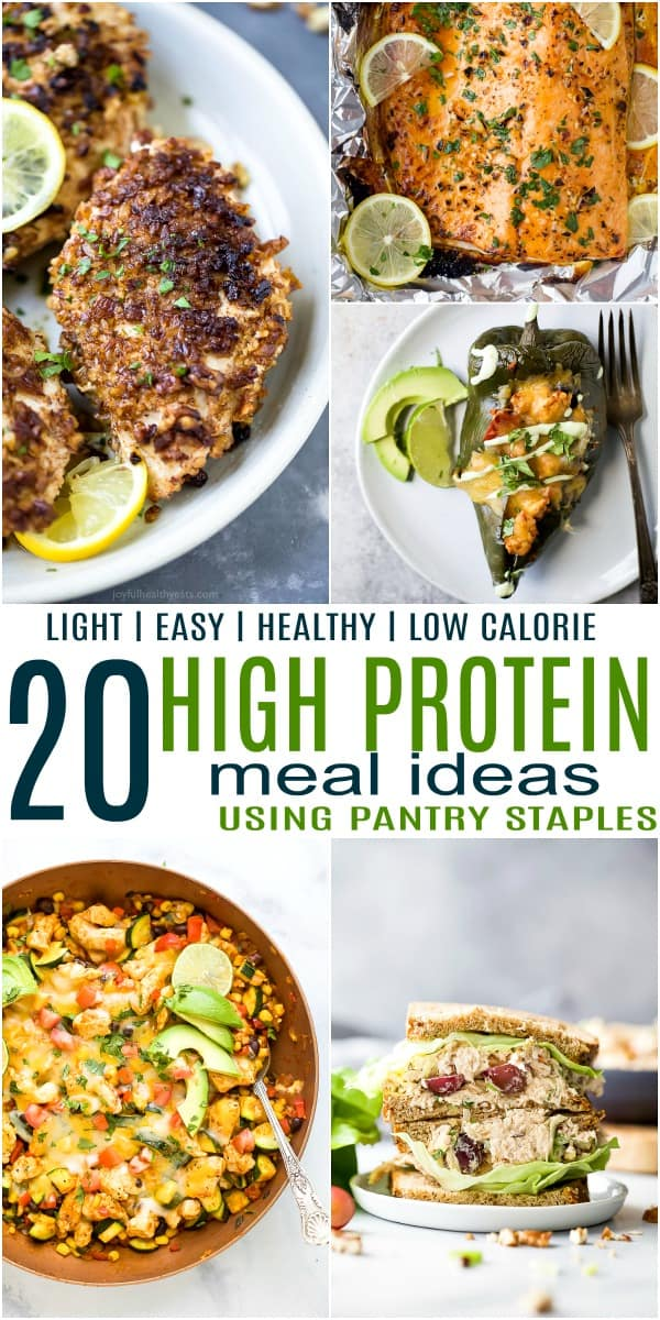 pinterest image for 20 Light & Easy High Protein Meal Ideas