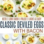 pinterest image for classic deviled eggs with bacon