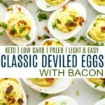 pinterest image for keto classic deviled eggs with bacon