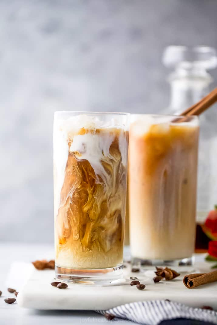 close up of an easy iced chai tea latte recipe in a cup