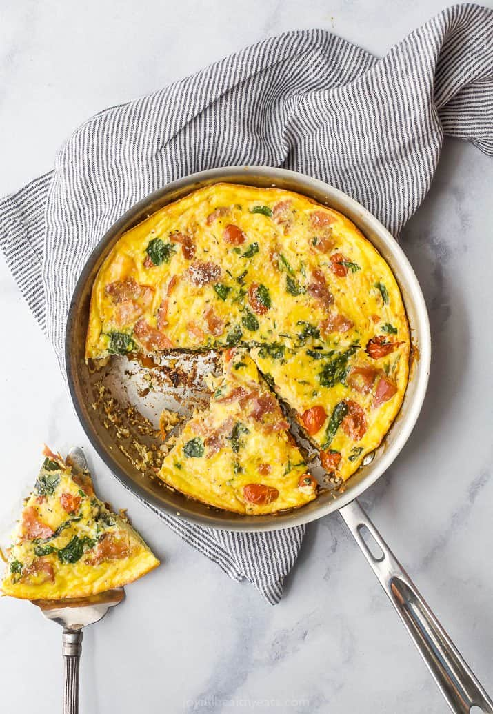 overhead photo of quick & easy prosciutto spinach frittata in a pan