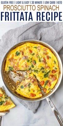 pinterest image for epic prosciutto spinach frittata recipe