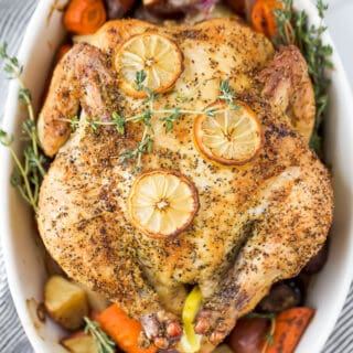 close up photo of easy roasted chicken