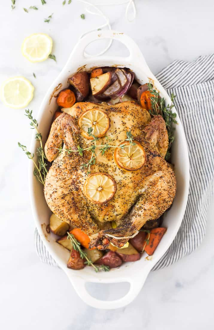 easy roasted chicken with vegetables in a baking dish