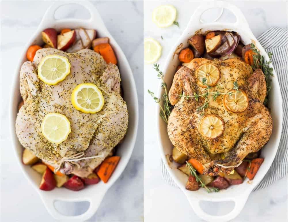 side by side photos of prepared roasted chicken and finished roasted chicken in a baking dish