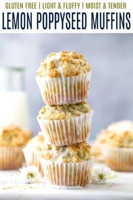 pinterest image for moist gluten free lemon poppyseed muffins