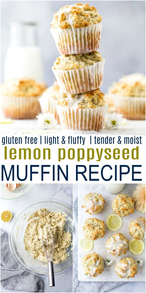 pinterest image for moist gluten free lemon poppyseed muffins