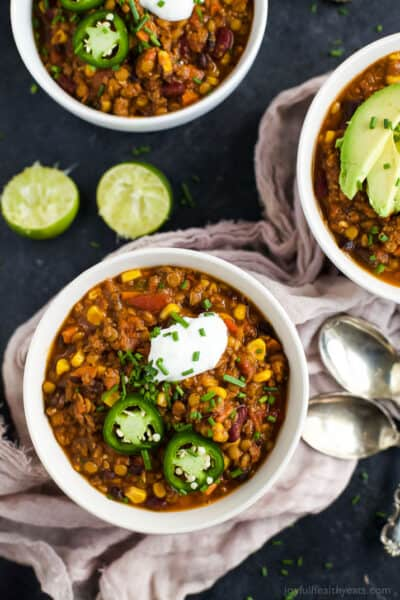 bowl of smoky lentil chili