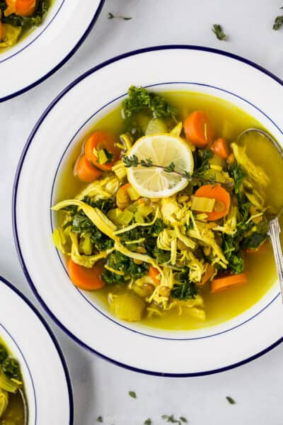 healing chicken soup recipe in a bowl