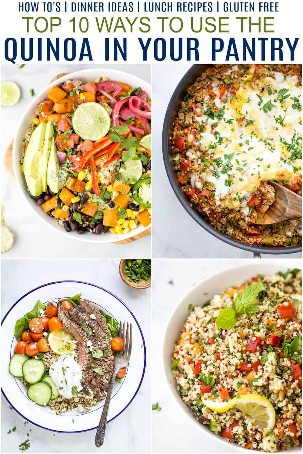 pinterest image for top 10 ways to use the quinoa in your pantry