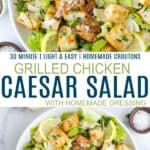 pinterest image for easy grilled chicken caesar salad with homemade dressing