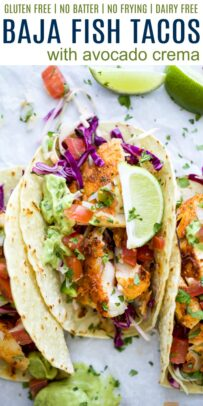 Title Image for Baja Fish Tacos with Avocado Crema and three crispy fish tacos topped with red cabbage, avocado crema, tomatoes and lime