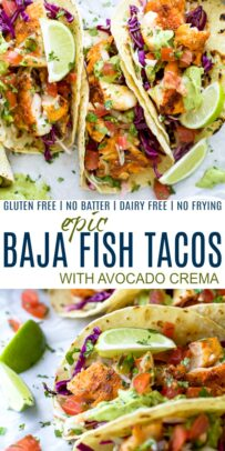 pinterest image for epic baja fish tacos with avocado crema