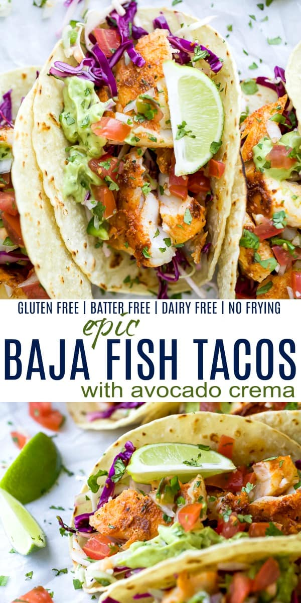 pinterest image for epic baja fish tacos with avocado creama