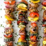 pinterest image for the best ever balsamic grilled chicken kabob