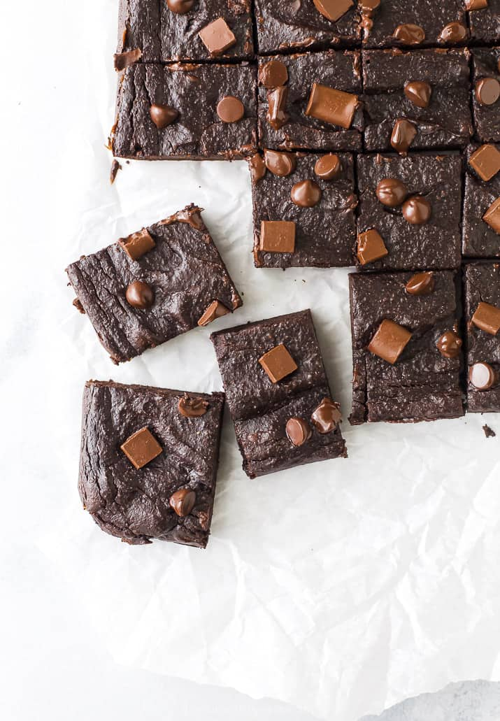 overhead photo of double chocolate avocado brownies