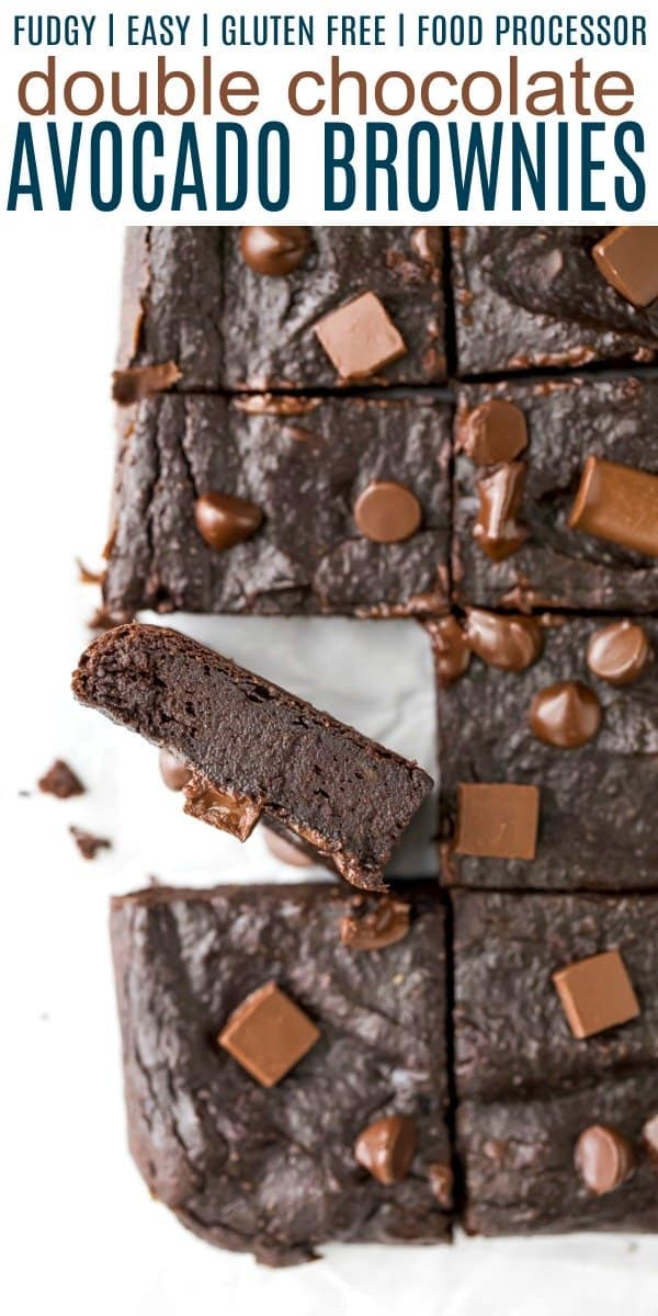 pinterest image for double chocolate fudgy avocado brownies