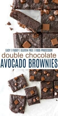 pinterest image for double chocolate avocado brownies