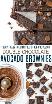 pinterest image for fudgy double chocolate avocado brownies
