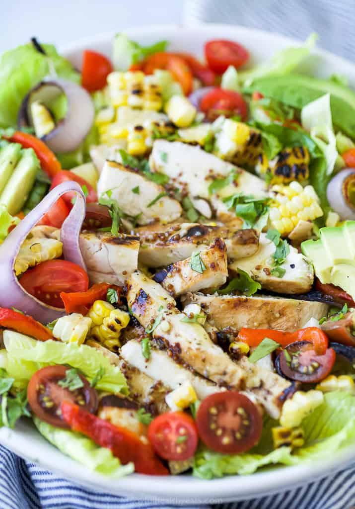 close up of easy grilled honey mustard chicken salad with avocado