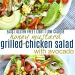 pinterest image for easy grilled honey mustard chicken salad