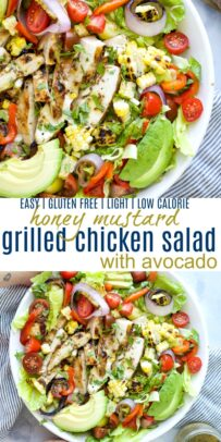 pinterest image for easy grilled honey mustard chicken salad