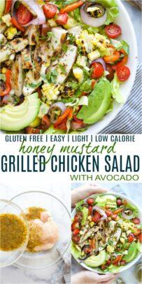 pinterst image for easy grilled honey mustard chicken salad