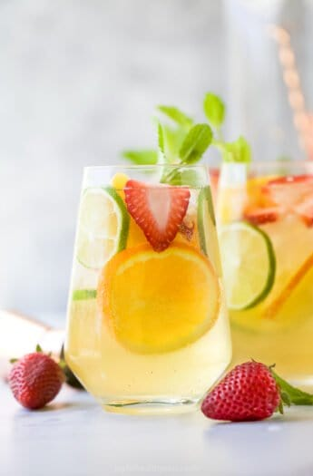 close up of light easy strawberry peach moscato sangria