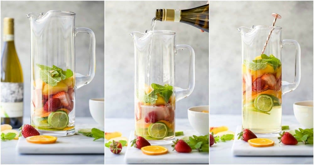 pictures of how to make strawberry peach moscato sangria