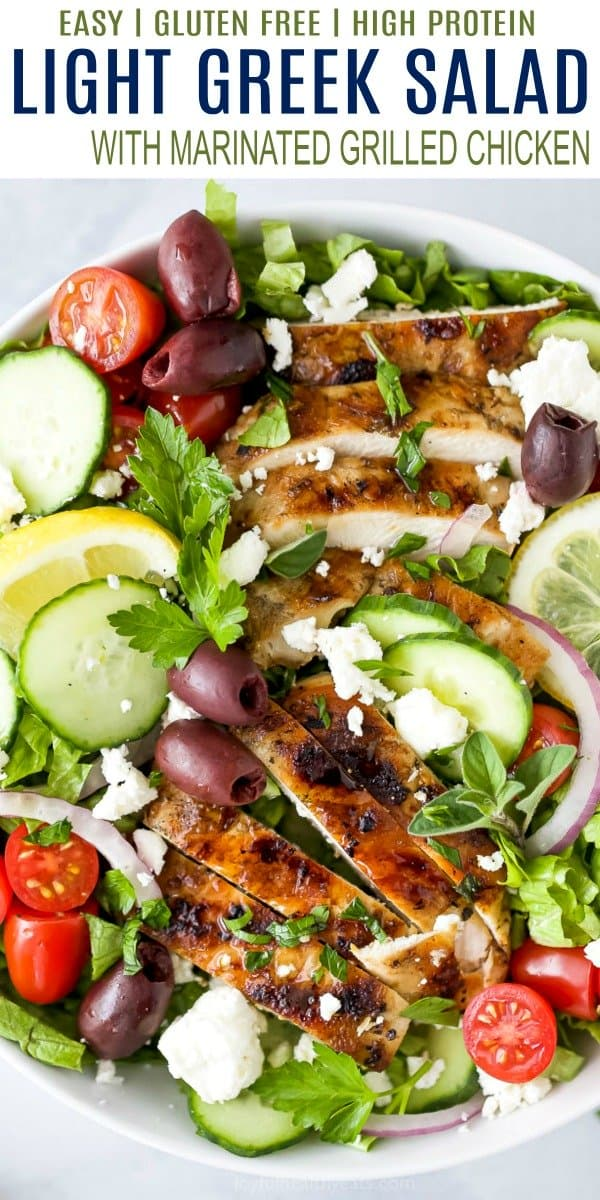 pinterest image for light greek salad with grilled chicken