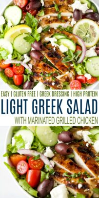 pinterest image for light greek salad with grilled chicken