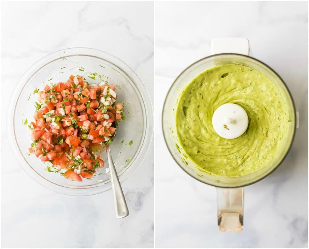 photo of fresh pico de gallo and a homemade avocado crema