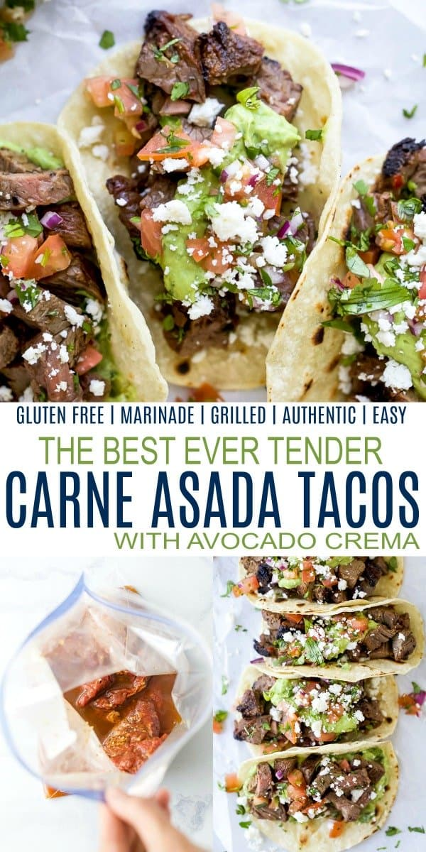 pinterest image for best ever marinated carne asada tacos